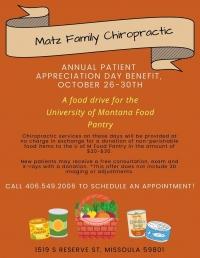 Matz Family Chiropractic- UM Food Pantry Drive