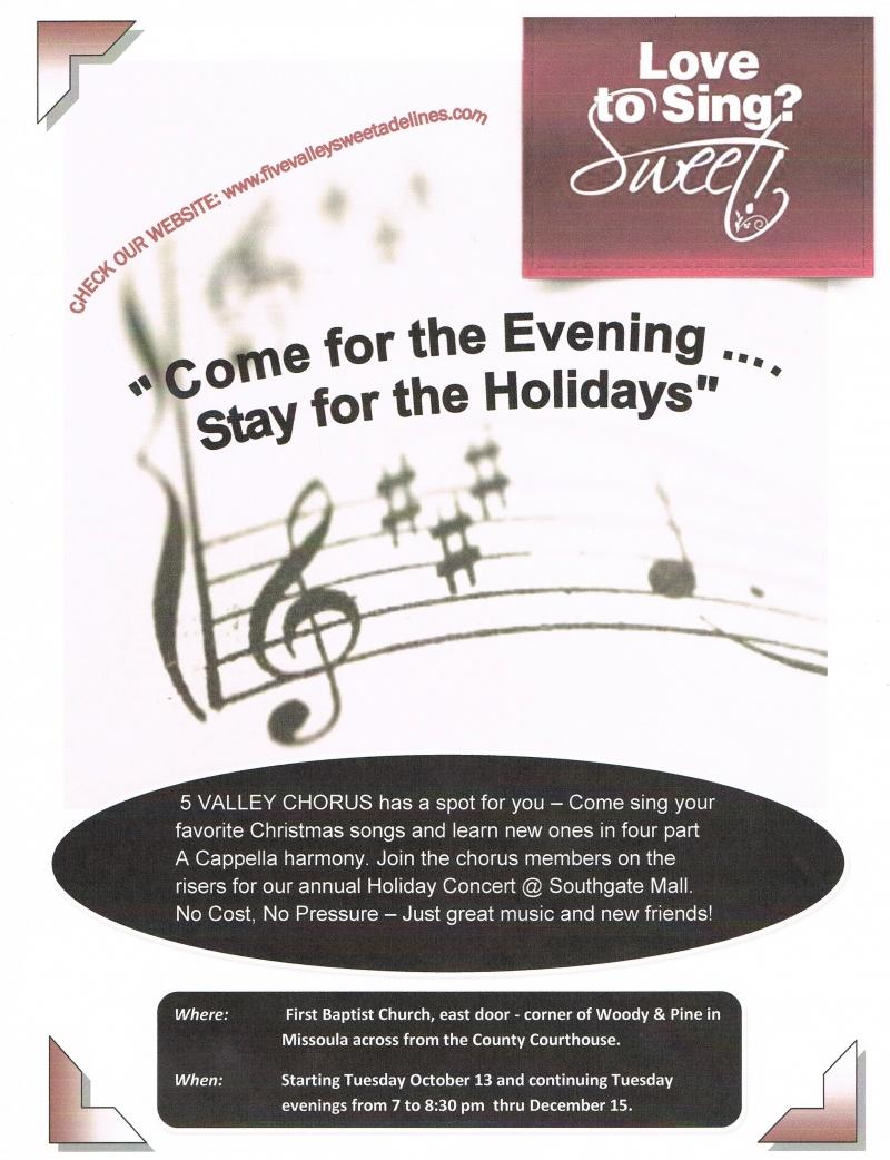 Sweet Adelines Open House/Holiday Singing Invitation 10/13/2015 ...