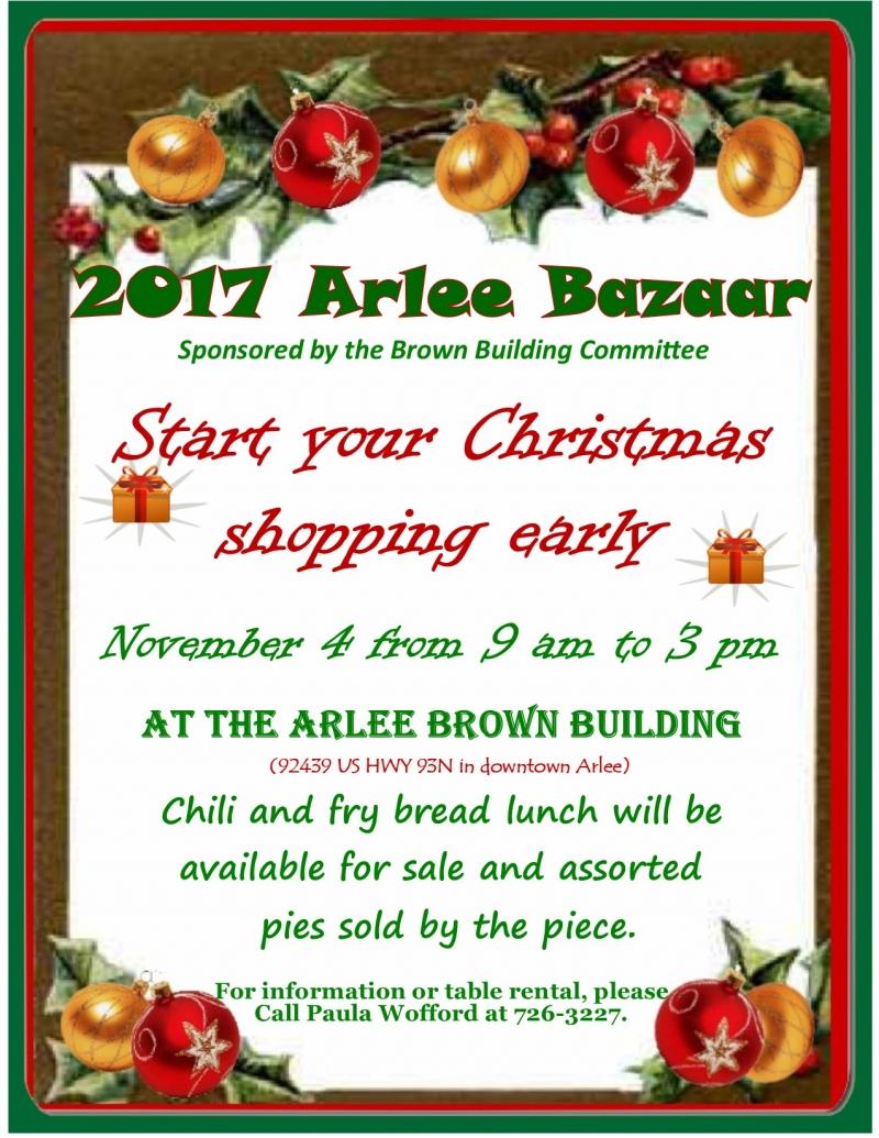 2017 Arlee Bazaar 11/04/2017 Arlee, Montana, Arlee Brown Building ...