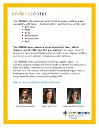 EMBERS Center Virtual Cancer Survivorship Event