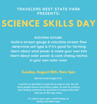 Science Skills Day at Travelers' Rest State Park