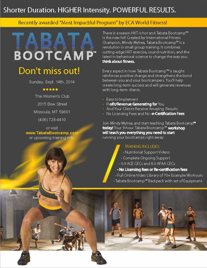 Tabata Bootcamp Instructor Certification 09142014 Sports Event