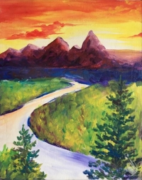 Painting:  Sunset Behind the Grand Tetons