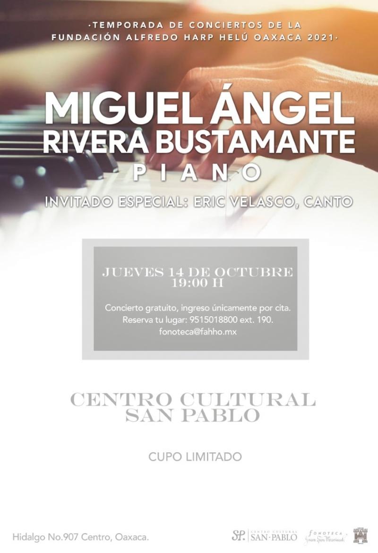 Miguel Ángel, Rivera Bustamante: Piano