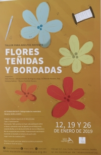 Dyed and embroidered flowers/Flores tenidas y bordadas