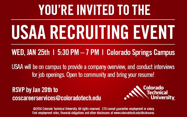 USAA Hiring 200 Jobs Colorado Technical University 01/25/2017