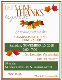 St. Leander Church Annual Thanksgiving Dinner