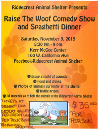 Raise The Woof Comedy Show and Spaghetti Dinner