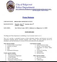 City of Ridgecrest Police Dept Press Release