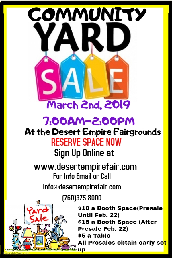 Community Yard Sale 03/02/2019 Ridgecrest, California