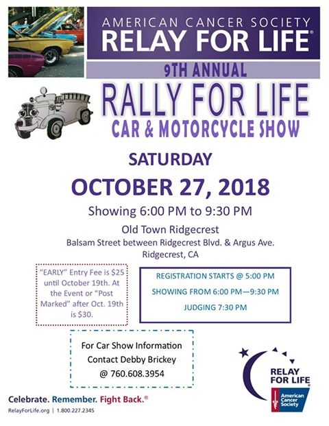 Relay For Life Car Motorcycle Show Ridgecrest Old - Old town car show 2018