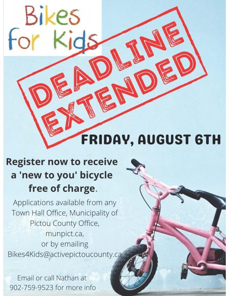 Bikes For Kids - Deadline Extended