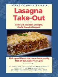 Lorne Community Hall Lasagna Take-Out